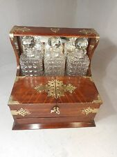 Antique 3 Cut Glass Decanter Compenduim Oak Tantalus ref 2085