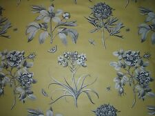 "SANDERSON CURTAIN FABRIC  ""Etchings & Roses"" 0.55 METRE EMPIRE YELLOW DPFPET204"