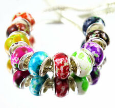 100 PCS mixed Beautiful Acrylic Camouflage Bead Fits European Bracelet BM19