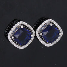 Engagement 18k white gold filled princess blue Swarovski stud sapphire earring