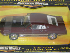 1/18 ERTL 1969 FORD MUSTANG MACH 1 , MAROON , 1 OF 3750 , NEW