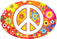 Peace Sign Over Hippie Flowers - Small Bumper Sticker / Decal