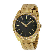 Armani Exchange Black Dial Gold-plated Ladies Watch AX5510