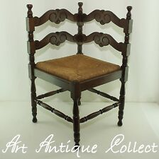 Eckstuhl alter Stuhl Binsengeflecht Holz Antik Ecksitz Antique Corner Chair