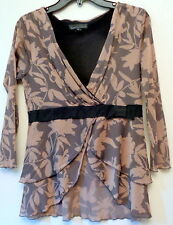 WESTON WEAR TOP BLOUSE SIZE LARGE BROWN FLORAL PATTERN 100% NYLON LONG SLEEVES