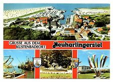Neuharlingersiel Germany Postcard Grusse Aus Dem Kustenbadeort Boats Flags
