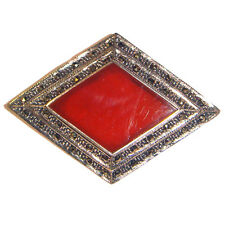Gorgeous CARNELIAN Stone PIN / BROOCH Marcasite Genuine .925 Sterling Silver