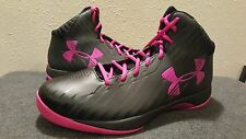 AUTHENTIC Under Armour Jet Black Tropic Pink Supportive Basketball Womens sz 13