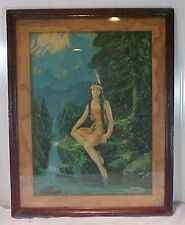 Antique Print Native American Indian Princess Feather Dress Mountain Stream