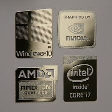 Windows 10 Combo Badge Metal Sticker, PC/Laptop Intel Core i7/AMD/Nvidia