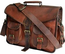 "New 15""Mens Genuine Vintage Leather Messenger Laptop Briefcase Satchel Bag Brown"