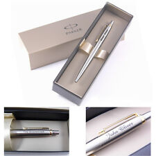 Personalised Engraved Parker Jotter Stainless Steel Gold Trim Ballpoint Pen - Gr