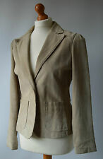 Ladies Jane Norman Light Beige Real Suede Jacket Size 12