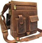 Upright Large Messenger Shoulder Bag Real Leather Tan Visconti New Unisex 18410