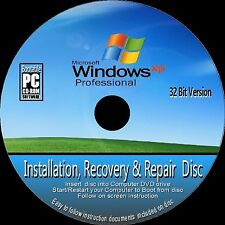 Windows XP Professional 32 bit & SP3 installare reinstallare Recover RIPARAZIONE CD ROM NUOVO