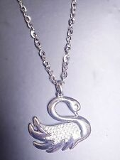 Large abstract metal swan shape pendant and long chain necklace silver lagenlook