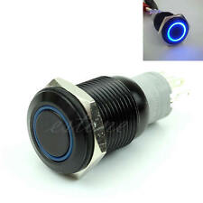 16mm 12V Blue LED Power Push Button Switch Black Aluminum Metal Latching