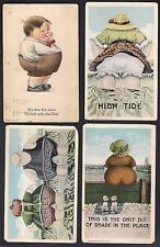 Lot of 4 Vintage Pre-WWII Atlantic City New Jersey Fat Man Women Humor Postcards