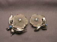 Vintage Pair of Carved Crystal & Rhine Flower Brooches marked Canada
