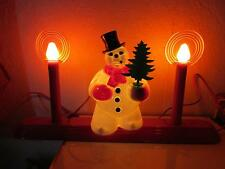Vintage Christmas Royalite Plastic Snowman Halo Candloier Royal Electric