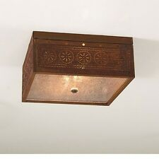 primitive new RUSTY punched tin square ceiling light / nice
