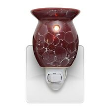 New Red Marbled Plug In Scented Oil Tart Burner Warmer Night Light Lamp Gift