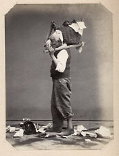 c.1860's PHOTO  - ITALY SOMMER NAPLES MAN CARRYING BASKET