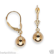 Real Solid 14K Yellow Gold 6mm Ball Dangle Earrings w/ Lever Back NEW FREE SHIP