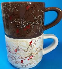 Set of 2 Starbucks Coffee Mugs Cups Coffee Bean Plants Cream Brown Red Berries