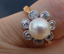 .84ct European 7.5mm pearl vintage antique diamond floral ring 18k YG