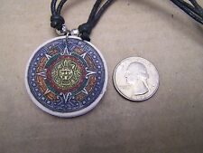 Resin Painted Aztec Calendar Necklace - Mexico