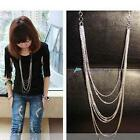 Vintage Retro Style Silver 7 layer Long Tassel Pendant Necklace Sweater Chain DC