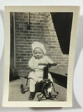 Vintage B&W Photograph - Young Boy on Quadricycle Toy, Circa 1920s