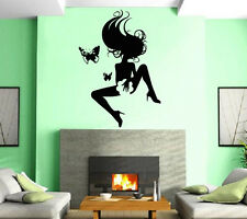 Sexy Hot Girl Butterfly Hair Spa Beauty Salon Wall Art Decor Vinyl Sticker z523