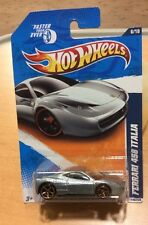 2011 HOT WHEELS FASTER THAN EVER FERRARI 458 ITALIA SILVER DIECAST CAR  1:64