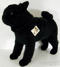 KOSEN MADE in GERMANY NEW Custom Black Standing Pug Dog Plush Toy