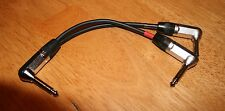 """6"""" Y Insert Cable - 1/4"""" TRS right angle to (2) 1/4"""" TS right angles"""
