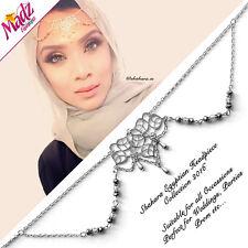 Hijab PIN Nuziale Tikka per capelli gioielli Bracciale Testa Pezzo party ARGENTO