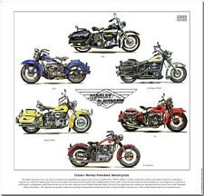 CLASSIC HARLEY-DAVIDSON MOTORCYCLES - FINE ART PRINT - FLH WL WLD XL Sportster +