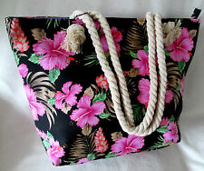 CANVAS BLACK FLORAL ROPE HANDLES /BEACH BAG/SHOPPER STYLE /TOTE/HOLIDAYS/TRAVEL
