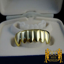 MENS NEW 14k YELLOW GOLD FINISH STERLING SILVER TARNISH FREE PLAIN BOTTOM GRILLZ
