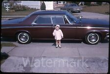 1960s Kodachrome photo slide Baby standing by  car  automobile