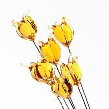 (6)  lampwork Czech amber topaz tulip flower glass craft arranging headpin beads