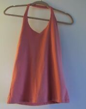 Juniors S,Sonoma Solid Orange Halter Top,Sleeveless,Cotton, Self Bra,Casual