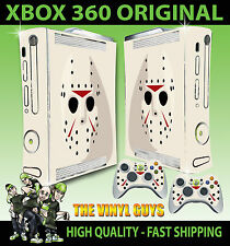XBOX 360 ORIGINAL JASON VOORHEES MASK CLEAN STICKER SKIN COVER & 2 PAD SKINS