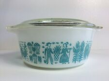 VIntage Pyrex Butterprint Casserole with Lid Blue on White 472 1 1/2 pint Amish