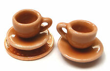 1:12 Scale 2 Salmon Pink Cups & Saucers DollHouse Miniature Ceramic Kitchen SP13