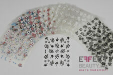 12 Sheets 3D Nail Art Transfer Sticker -Black, White & Colour Mix - FREE UK Post