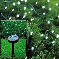 50 LED STRING LIGHTS SOLAR POWERED WHITE FAIRY LIGHTS GARDEN PARTY XMAS FREE P&P