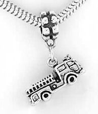 SILVER FIRE TRUCK/ FIREFIGHTER ENGINE DANGLE BEAD